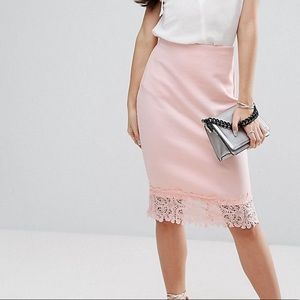 Petite pink skirt with lace hem
